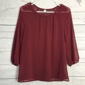 Old Navy | Maroon Dotted Sheer Blouse